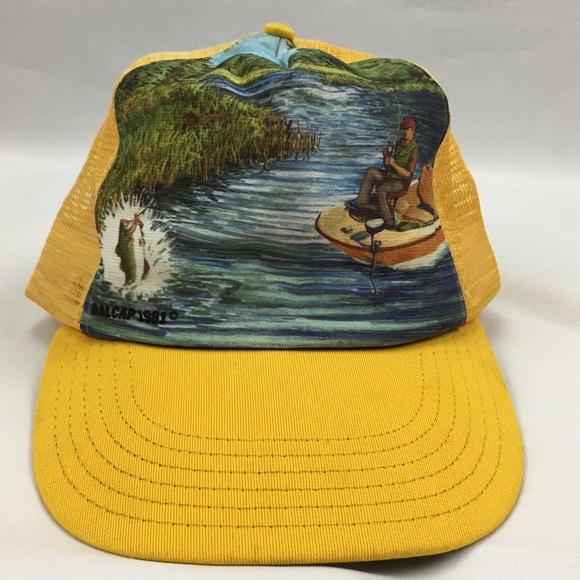 402819e06b1c0e Vintage Fishing Trucker Hat SnapBack Bass Fisher. M_5bb3a249baebf670d810ad33